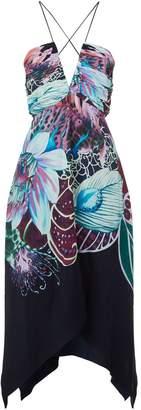 Roberto Cavalli Pleated Floral Dress