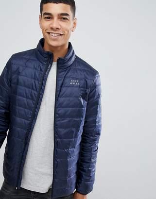 Jack Wills Nevis lightweight down puffer jacket in navy