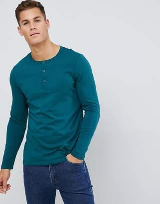 Asos Design DESIGN long sleeve t-shirt with grandad neck in green