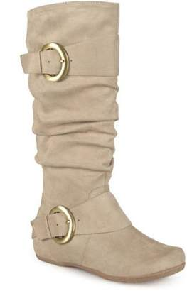 Brinley Co. Women's Buckle Knee-High Slouch Microsuede Boot