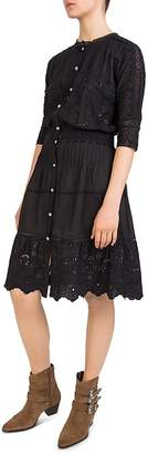 The Kooples Pleated Embroidered Lace-Detail Dress