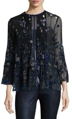 Elie Tahari Orion Drapey Velvet Floral Bell-Sleeve Blouse