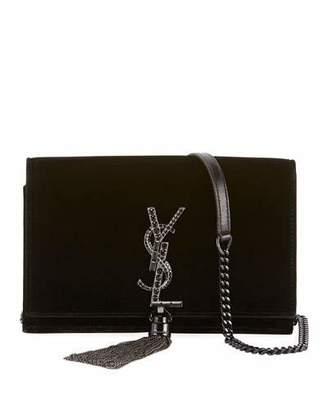 Saint Laurent Kate Toy Small Crystal-Monogram Tassel Velvet Wallet on a Chain Bag - Silvertone Hardware