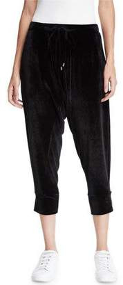 Eileen Fisher Stretch-Velvet Drawstring Cropped Slouchy Pants, Petite
