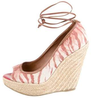 Sergio Rossi Canvas Lace-Up Wedge Sandals