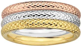 Stacks & Stones 18k Gold Over Silver & Sterling Silver Tri-Tone Textured Stack Ring Set