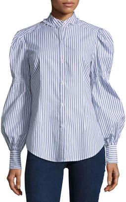 Max Studio Long-Sleeve Striped Shirt