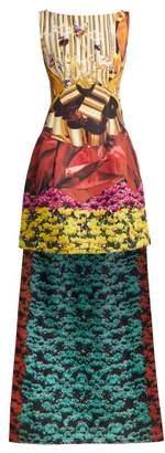 Mary Katrantzou Harp Hazzard Printed Silk Satin Gown - Womens - Multi