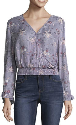 Arizona Long Sleeve V Neck Crepe Bohemian Blouse-Juniors