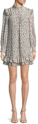 Frame Smocked Floral High-Neck Shift Dress