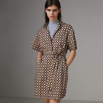 Burberry Tiled Archive Print Cotton Shirt Dress , Size: 06, Blue