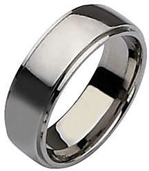 Steel by Design Stainless Steel Ridged Edge 8mm Polished Ring