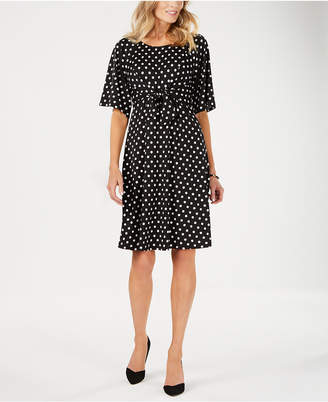 NY Collection Petite Printed Tie-Front Dress
