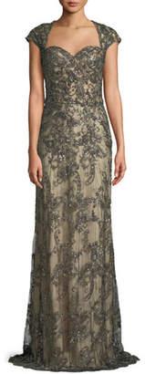 La Femme Beaded Lace Gown w/ Cap Sleeves