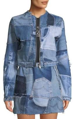 RE/DONE Patchwork Cropped Zip-Front Denim Jacket