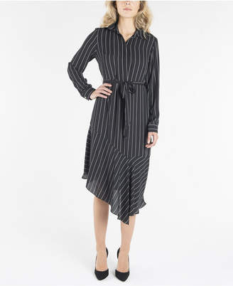 Nanette Lepore Long Sleeve Dress with Collar and Asymmetrical Hemline