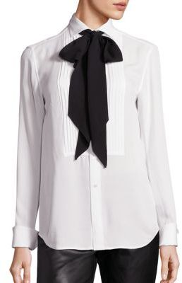 Polo Ralph Lauren Silk Tie-Neck Tuxedo Shirt $225 thestylecure.com