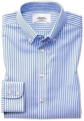 Charles Tyrwhitt Extra Slim Fit Button-Down Non-Iron Sky Blue Stripe Check Cotton Dress Shirt Single Cuff Size 16.5/33
