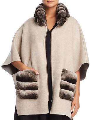 Maximilian Furs Chinchilla Fur Trim Cape - 100% Exclusive