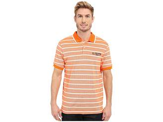 U.S. Polo Assn. Embellished Pencil Stripe Polo Shirt Men's Short Sleeve Knit