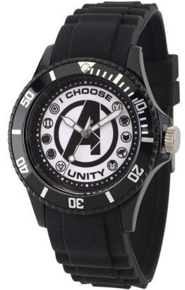 Marvel Classic Men's Avengers Logo, Captain America, Black Widow, Hulk, Ant-Man, Falcon, Wasp, Thor, Hawkeye, Black Panther, Iron Man Black Plastic Watch, Black Plastic Strap