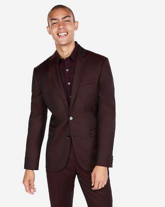 Express Slim Burgundy Luxury 100% Wool Suit Jacket