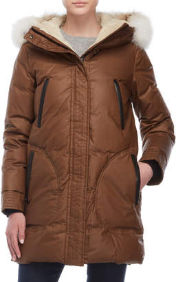 Soia & Kyo Real Fur Trim Sherpa Lined Down Coat
