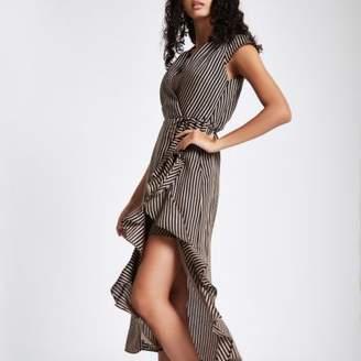 River Island Womens Brown stripe frill tie waist midi dress