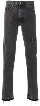Paura metallic thread slim-fit jeans