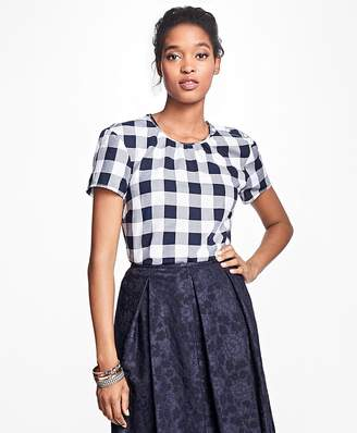 Gingham Cotton Twill Blouse $48 thestylecure.com