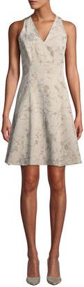 T Tahari Metallic Floral Fit-and-Flare Dress