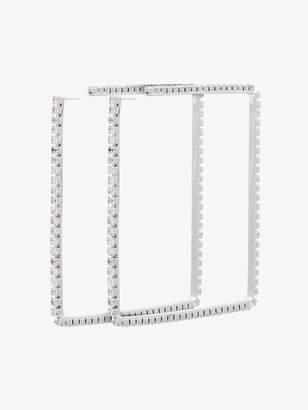 Area metallic silver 4 dewi square crystal earrings