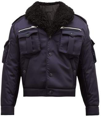 Prada Shearling Collar Flight Jacket - Mens - Navy