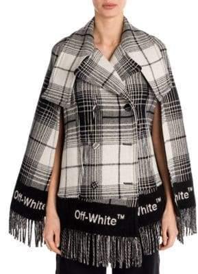 Off-White Check Blanket Cape Jacket