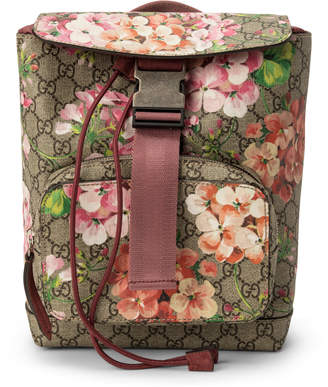Gucci Buckle Backpack GG Monogram Blooms Print Medium Brown/Pink/Red