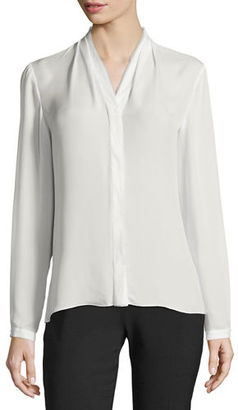 Elie Tahari Anabella Silk Tabbed-Sleeve Blouse $228 thestylecure.com