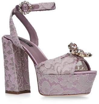 Dolce & Gabbana Lace Evie Platform Sandals 105