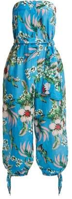 Diane von Furstenberg Floral Print Strapless Cotton Blend Jumpsuit - Womens - Blue Print