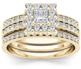 Imperial Diamond Imperial 7/8 Carat T.W. Diamond Single Halo Two-Band 14kt Yellow Gold Engagement Ring Set