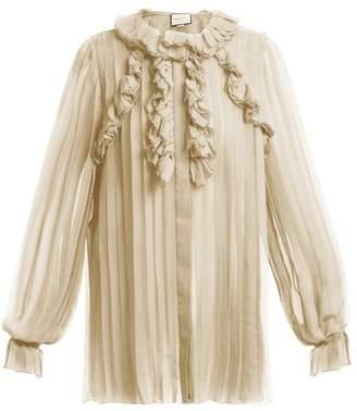 Gucci Ruffle Trimmed Pleated Silk Chiffon Blouse - Womens - Beige