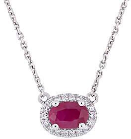 QVC 14K Gold Ruby & Diamond Halo Vintage-Style Necklace