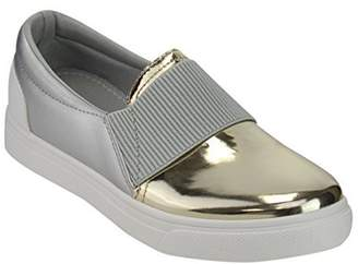 Refresh IE21 Women's Fabric Metallic Slide in Fashion Platform Sneakers, Color , Size:8
