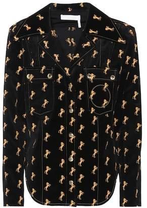 Chloé Embroidered velvet shirt