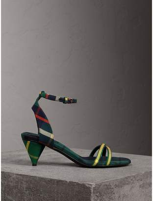 Burberry Tartan Cotton Cone-heel Sandals