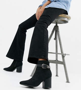 Lost Ink Wide Fit Marie western detail heeled ankle boots