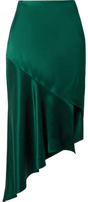 Cushnie - Asymmetric Silk-satin Midi Skirt - Emerald