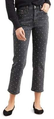 Levi's 501 Embellished High-Rise Cropped Jeans