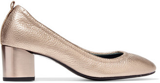 Lanvin - Metallic Textured-leather Pumps - Gold $675 thestylecure.com
