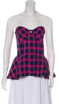 a7fc6a93e1 Tanya Taylor Plaid Strapless Top w  Tags
