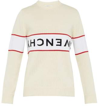 Givenchy Inverted Logo Instarsia Cotton Sweater - Mens - White
